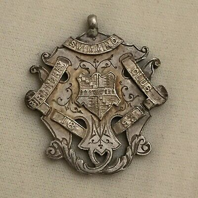Victorian watch fob silver antique Birmingham swimming club medal 1893 detecting