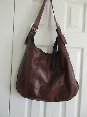 787694ba22d ili New York Brown Leather w Whip Stitch Detail Shoulder Purse/Handbag  Pre-Owned