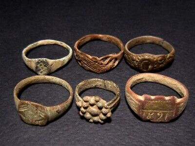 LOT of 6 pcs. ANCIENT ROMAN , BYZANTINE AND MEDIEVAL FINGER RINGS!!!