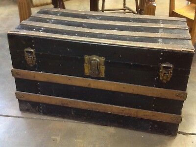 Smaller Antique Vintage Metal Wood Slat STEAMER TRUNK Farmhouse Chest 34x17x19