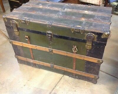 Antique Metal Oak Wood Slat STEAMER TRUNK w/ Tray Farmhouse Chest 38x20 ORIGINAL