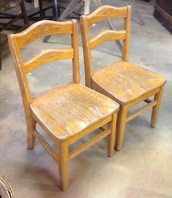 Set 2 Matching Vintage Wood Small CHILDS OAK Sunday SCHOOL CHAIRS Kids Vintage