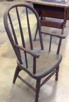 "Antique Primitive CHILD""S Wood Farm School CHAIR w/ ARMS Spindle Back ORIGINAL"