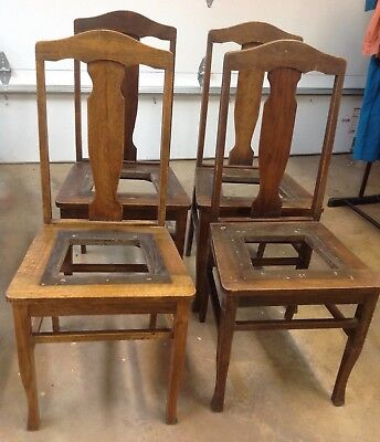 Set 4 Antique T Back Quarter Sawn American White OAK WOOD Dining CHAIRS