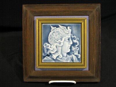 "Antique MAJOLICA PORTRAIT TILE - STOVE TILE - 4"" X 4"""