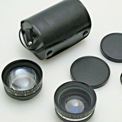 2 Vintage Yashikor Aux Wide Angle Camera Lens 1:4 Yashicor Aux Telephoto Case