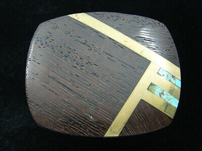 RD05142 VINTAGE 1970s **INLAID WOOD & STONE ABSTRACT ART** SOLID BRASS BUCKLE