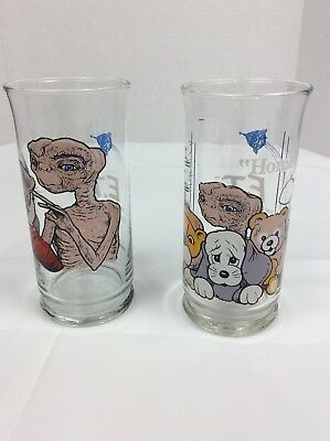 Set Of 2 Vintage E.T. Extra Terrestrial Pizza Hut Glass CUPS1982 Limited Edition