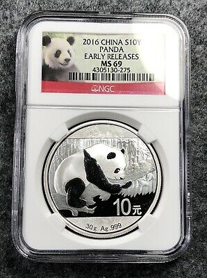 2016 Chinese Silver Panda NGC MS69 Early Release China
