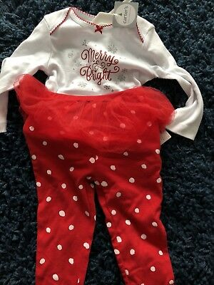 2a73b0a6e Carters Baby Girl Holiday Christmas Merry and Bright Tutu Outfit 12 Months  NWT