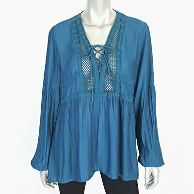 9bca3ef5d7 Maurices Womens Boho Peasant Top Plus Size 1X Long Sleeve Flowy Lace Up  Popover