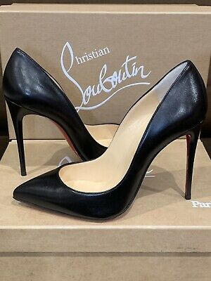 huge selection of 4b0f6 0f553 CHRISTIAN LOUBOUTIN PIGALLE 100mm Black Leather 39.5