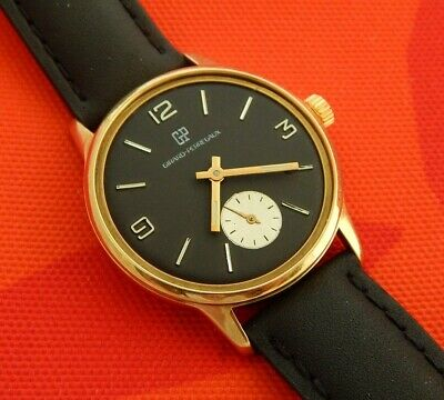 1950s GIRARD PERREGAUX BLACK DIAL SILVER SUBDIAL 34.9MM GOLD PLATED CASE