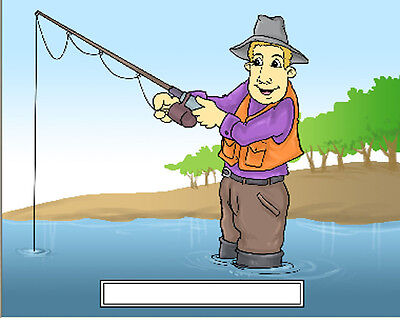Fishing Male #2 Cartoon Character Personalized Matted Print  Product  11 x 14