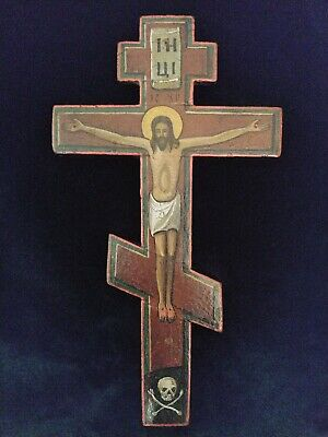 ANTIQUE 19c WOODEN RUSSIAN OLD BELIEVERS ICON CROSS CRUCIFIX.