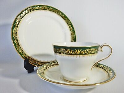 John Aynsley Bone China Chester Trio Tea Cup Saucer Plate Green Gold 2nd Quality