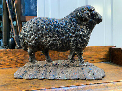 Original Vintage Australian Cast Iron Ram Formed Figure Doorstop