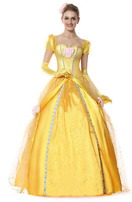 105859efed4cc6 Deluxe Fairy Tale Ball Gown Belle Princess Dress Women Adult Halloween  Costume