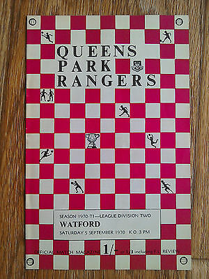 05/09/1970 QPR Vs Watford Football Match Programme