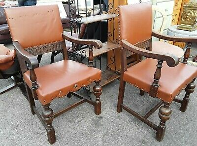 Pair Of Vintage Wood Leather Dining Armchairs Cushioned Carved Rustic Antique