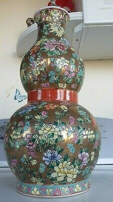 "ANTIQUE Chinese GILT Ground Famille Porcelain 15"" VASE Jardiniere Brush POT URN"