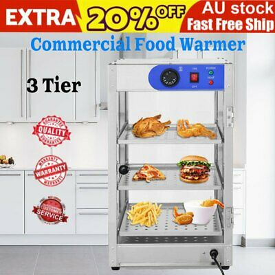 3 Tier Commercial Pie Food Warmer Hot Display Showcase Cabinet Stainless Steel