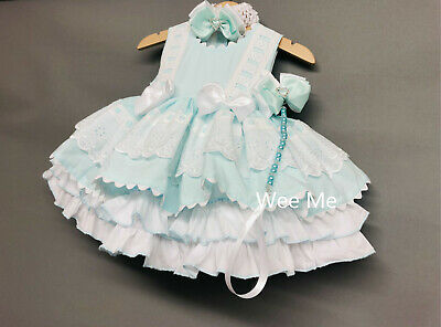 Beautiful Wee Me Baby Girl Pink Spanish Open Back Dress Ribbon Lace Trimmings