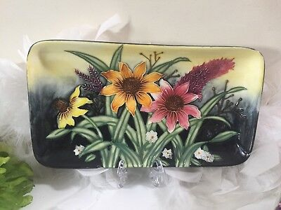Old Tupton Ware TRAY with Summer Bouquet, hand painted pottery, floral tray