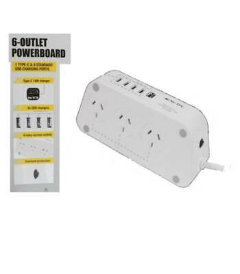 Nu-Tec 6 Outlet Powerboard 15W Type C/4 USB Charging Ports/Overload Protection