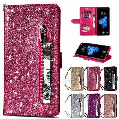 Magnetic Bling Glitter Leather Wallet Card Slot Case Cover For iPhone Samsung