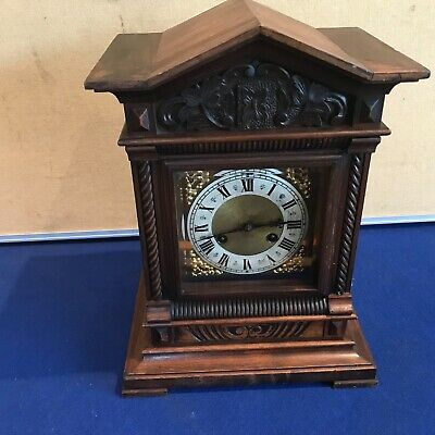 Lovely German Walnut Carved Cased Bracket / Mantel Clock
