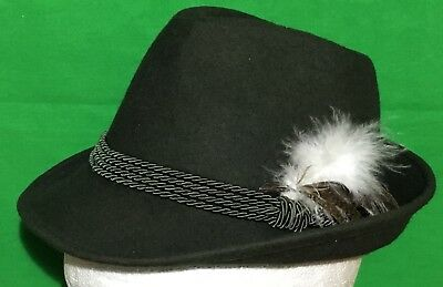 * Tyrolean *  Hat Green Shooting Hunting Feather Wool Oktoberfest  49cm Childs