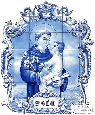 Portuguese Traditional Ceramic Hand Painted Tile Mural Wall Art SANTO ANTÓNIO