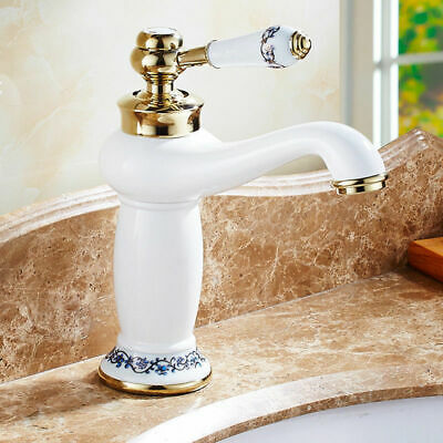 Handle Bathroom Antique Basin Faucets Ceramic Gold&White Mixer Wash Tap Brass