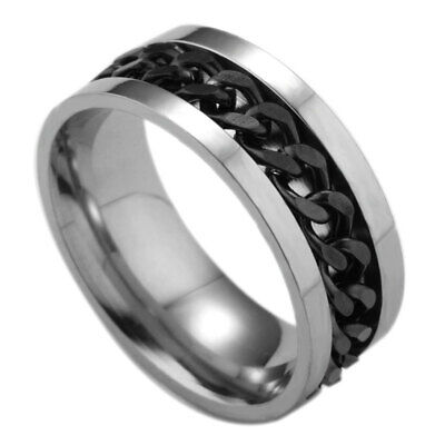 Men's 8mm Flat Stainless Steel 316L Wedding Band with Black Chain Center Ring
