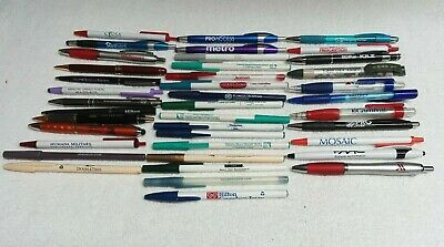 "Lot ""D"" OF 40 Advertising Ballpoint Pens ""UNTESTED"" AS IS"