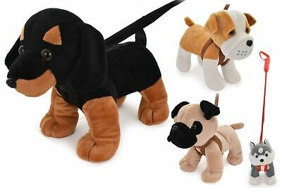 Kandy Toys Medium Stuffed Teddy Soft Toy Dogs on Lead Plush Kids Toddler Toy