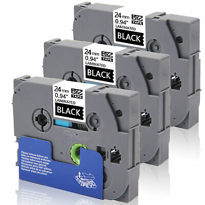 3PK White on Black TZe-355 24mm Label Tape Compatible Brother P-Touch  PT-9700PC