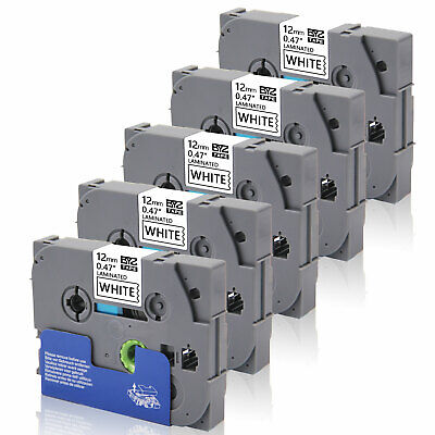 """5PK Label Tapes TZe231 12mm 0.47""""Black/White for Brother P-Touch PT-D450 PT-D600"""