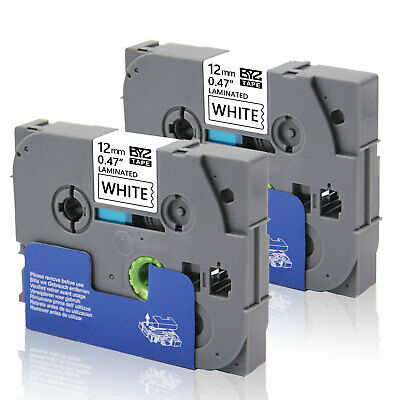 """2PK Label Tapes TZe231 12mm 0.47""""Black/White for Brother P-Touch PT-D210 PT-D450"""