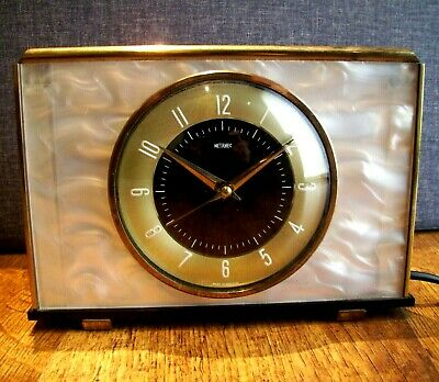 Vintage 1950's-1960's Metamec Electric Mantle Clock with Pearlescent Frame Retro