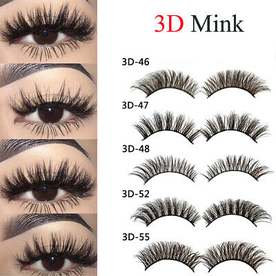 5 Pairs 3D Natural False Eyelashes Long Thick Mixed Fake Eye Lashes Makeup Mink#
