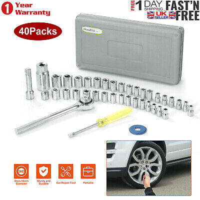 "Premium 40 Pieces 1/4"" & 3/8"" Drive Socket Set Tool Kit Diy Ratchet Driver Uk"