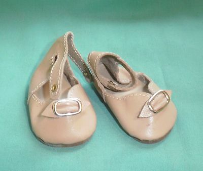 Puppenschuhe Echtleder beige, doll shoes real leather beige, 6.8 cm
