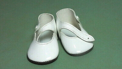 Puppenschuhe aus Kunstleder weiss 8,1 cm / pair of doll shoes pat. leather