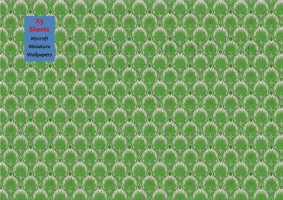 MINIATURE DOLLS HOUSE WALLPAPER 3 SHEETS 1/12th SCALE GREEN PATTERN PHOTO PAPER