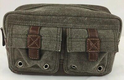 241a43489 Fossil Toiletry Bag Organizer Travel Pouch Green Canvas Brown Leather Mens  806