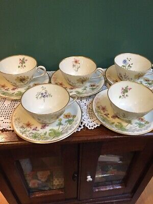 K & A  Krautheim Selb Bavaria Meadow Flowers Cups & Saucers Scene F Set Of 5