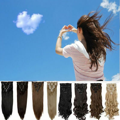 Real Natural Hair Extension clip in hair Curly Straight ash pale golden Blonde