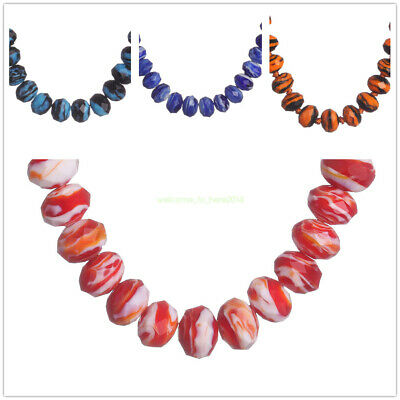 8 10 12mm Stripe Faceted Glass Beads Rondelle Spacer Craft Making Finding 10Pcs